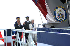 US Navy 110326-N-3245F-007 Joyce Rumsfeld, wife of former Secretary of Defense Donald Rumsfeld, christens the amphibious transport dock ship Pre-Co