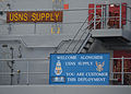 US Navy 111213-N-FI736-158 A sign aboard USNS Supply informs the crew of USS Nitze that this is the 97th time the crew of Supply has resupplied a n.jpg