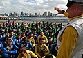 US Navy web 041104-N-7130B-076 Ens. Brian Zimmerman of Los Angeles, Calif., addresses Sailors assigned to the Air Department during a general quarters (GQ) aboard USS Ronald Reagan (CVN 76).jpg