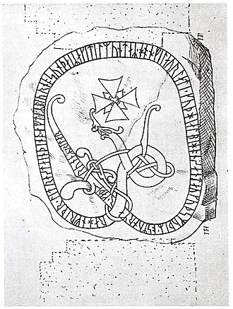 Baltic area runestones - The runestone U 346 in a 17th-century drawing.