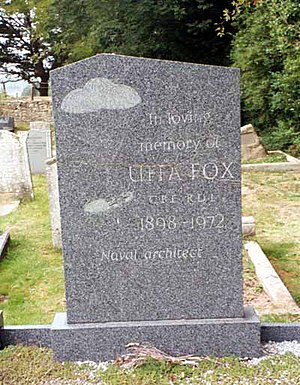 Uffa Fox - Grave of Uffa Fox, Whippingham, Isle of Wight, showing lifeboat of his design on parachute