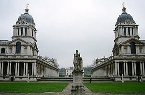 University of Greenwich - The Old Royal Naval College with Queen's House (behind the statue)