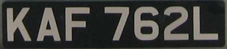 United Kingdom license plate KAF 762L 1963