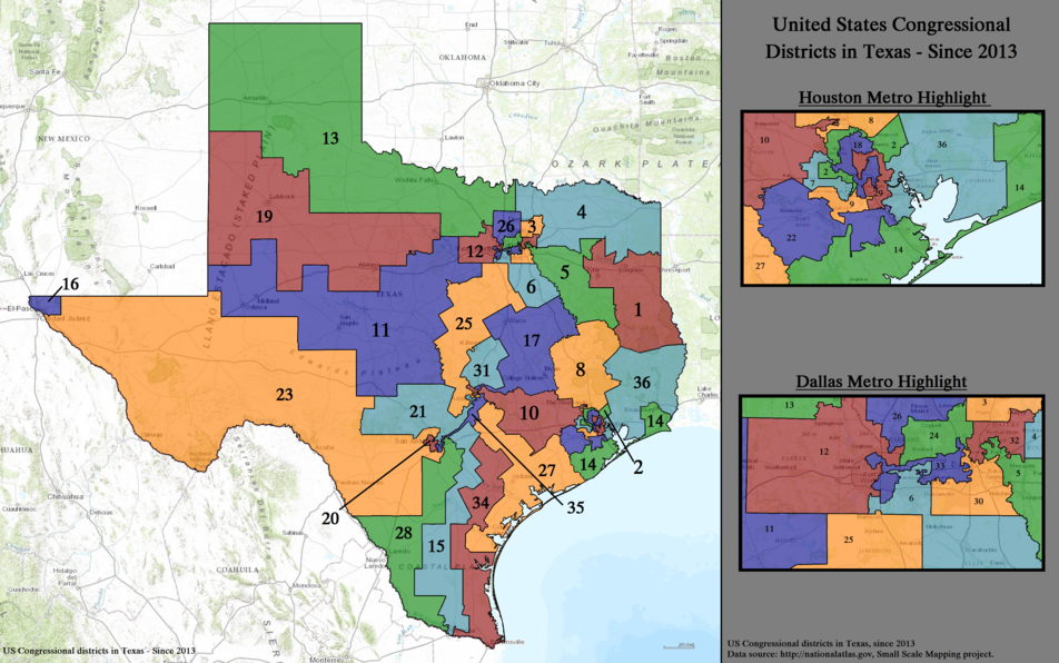 United States Congressional Districts in Texas, since 2013(2).tif