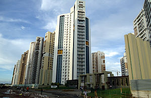 New Town, Kolkata - New Town is a newly established township, consisting of gated high-rise apartment complexes. In this image, Uniworld City, a mini-township
