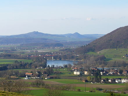 The Rhine river and Hemishofen (with Ramsen and Buch in the background) below the town of Stein.
