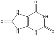 Chemical structure of uric acid.