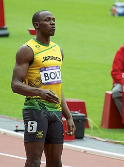 Usain Bolt, world record holder in 100 m and 200 m sprints Usain Bolt 2012 Olympics 1.jpg