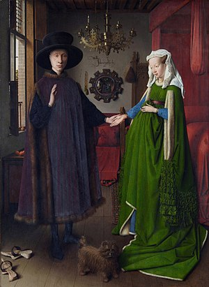 Pentimento - The Arnolfini Portrait by Jan van Eyck, National Gallery, London 1434.  Among other changes, his face was higher by about the height of his eye, hers was higher, and her eyes looked more to the front.  Each of his feet was underdrawn in one position, painted in another, and then overpainted in a third.  These alterations are seen in infra-red reflectograms.