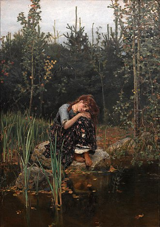 Brother and Sister - Sister Alenushka Weeping about Brother Ivanushka (painting by Viktor Vasnetsov, 1881), Russian variant collected by Alexander Afanasyev in Narodnye russkie skazki.