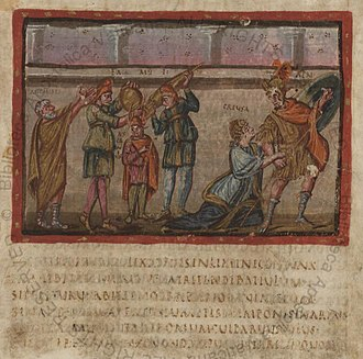 Vergilius Vaticanus - Folio 22r from the Vatican Virgil contains an illustration from the Aeneid of the flight from Troy.