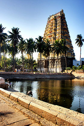 Vedhagireeswarar temple with the tank.jpg