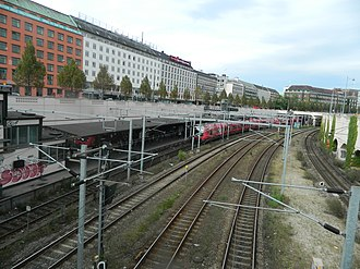 S-train - Vesterport station is located below street level, but is not under ground. Other trains do not stop here, solely S-trains. Compare with picture of Berlin's S-train above. Same concept.