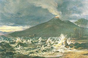 Gheorghe Asachi - Mount Vesuvius seen from Castellammare di Stabia, 1821 painting by Johan Christian Dahl