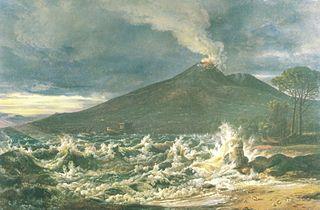 View of Vesuvius from the Beach near Castellammare