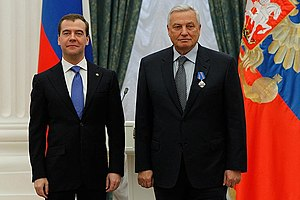 """Order of Military Merit (Russia) - CEO and Chief Designer at Production and Design Association Victor Tyatinkin, just awarded the Order """"For Military Merit"""" by President Dmitry Medvedev on May 3, 2012. (Photo www.kremlin.ru)"""
