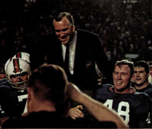 1967 Orange Bowl - Graves carried off the field after the win.