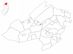 Victory Gardens highlighted in Morris County. Inset map: Morris County highlighted in the State of New Jersey.