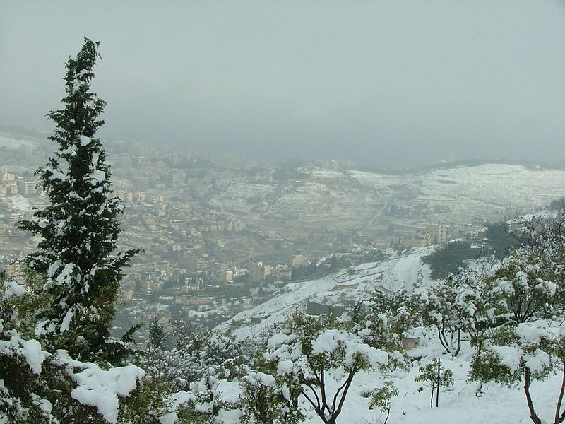 view of the old city of Jerusalem in the snow
