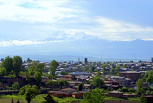 View over Gyumri rooftops to Mount Aragats