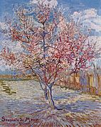 A painting of two pink peach trees in a blossoming orchard of trees near a wooden fence under a bright blue sky.