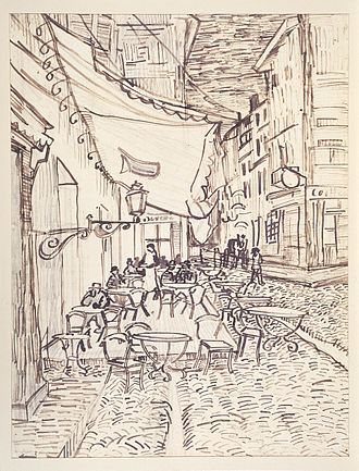 Café Terrace at Night - Preparatory study for the  painting, September 1888. (F1519) Dallas Museum of Art, The Wendy and Emery Reves Collection.