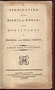 A Vindication of the Rights of Woman title page from the first American edition