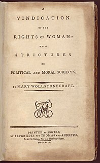 <i>A Vindication of the Rights of Woman</i> philosophic feminist book by Mary Wollstonecraft