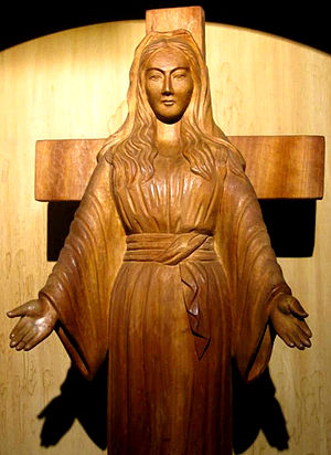 Weeping statue - The weeping statue of Our Lady of Akita apparitions in Japan.