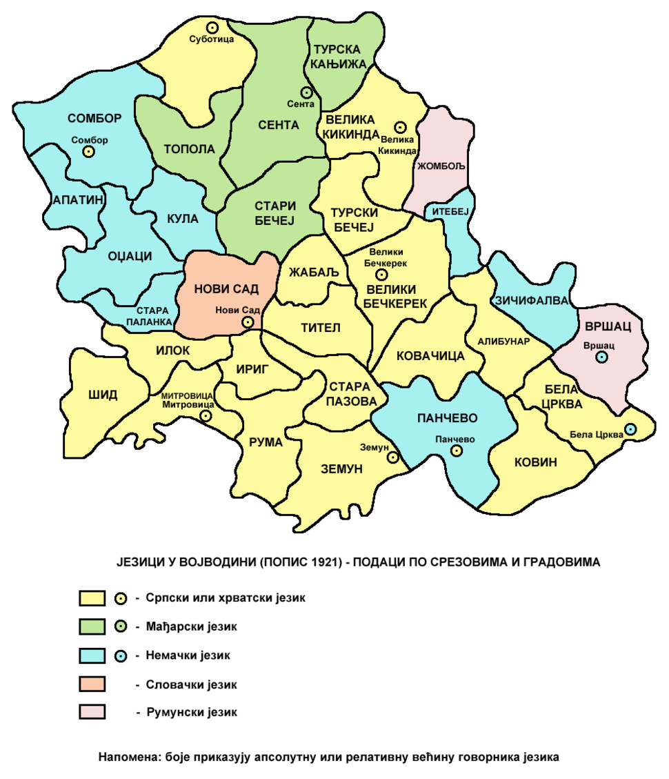Vojvodina languages1921-sr