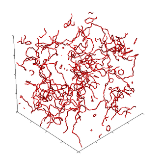 Quantum turbulence - A simulated vortex tangle representing quantum turbulence in a cubic volume and showing the quantized vortices