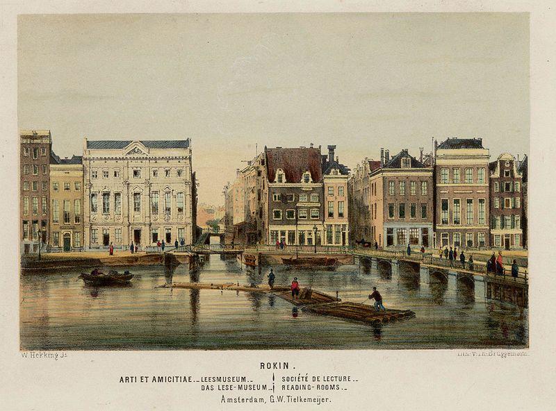 Canaux d'Amsterdam sur ce dessin de Willem Hekking