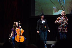 Bonnie Burton - Burton on stage with The Doubleclicks at w00tstock 4.0 in 2012