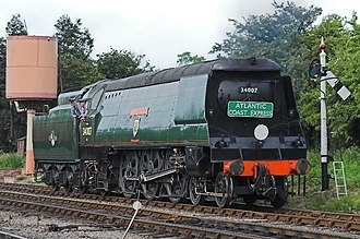SR West Country and Battle of Britain classes - Un-rebuilt West Country class No. 34007 Wadebridge, as preserved, in British Railways lined green express passenger livery