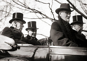 1921 in the United States - Warren G. Harding inauguration, March 4, 1921. Harding at right in back seat; Woodrow Wilson at left.
