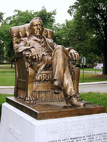 bronze statue of Washington Duke sitting in a chair