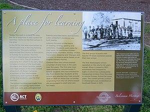 Weetangera, Australian Capital Territory - Sign giving history of the original Public School, Weetangera.