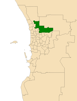 Electoral district of West Swan - Location of West Swan (dark green) in the Perth metropolitan area