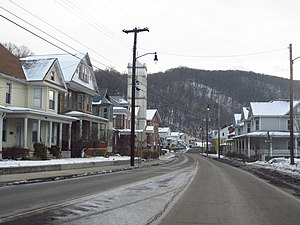 Westernport, Maryland - Downtown looking east on Church St in January 2014