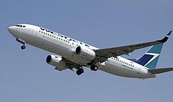 A departing WestJet Boeing 737-800