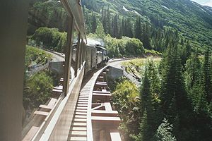 White Pass and Yukon Route - White Pass steam locomotive rounds a curve