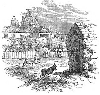 White Conduit Fields - White Conduit House, and the conduit head from which it was named, 1827