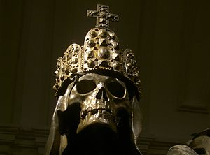 Imperial Crypt - An ornament of the sarcophagus of Emperor Charles VI: a death's head with the Imperial Crown