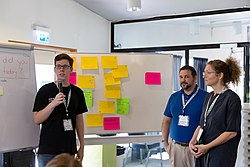 Wikimania Stockholm 2019-08-17 Encouraging new editors 01 MW.jpg