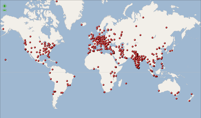 Wikipedia 10 anniversary event map (December 2011).png