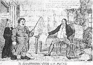 "William Cobbett - Contemporary engraving of Cobbett in prison, captioned ""The Hampshire Hog in the Pound"""