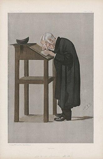 Spoonerism - Spooner as caricatured by Spy (Leslie Ward) in Vanity Fair, April 1898