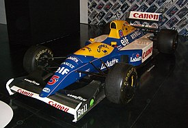 The Williams FW14B being exhibited.