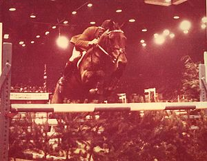 Horse of the Year Show - William Sheret winning the 1975 Foxhunter Championship at the Horse of the Year Show at Wembley Arena in London
