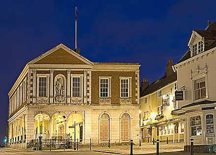 One of the legacies of the guilds: the elevated Windsor Guildhall originated as a meeting place for guilds, as well as a magistrates' seat and town hall. Windsorguildhall.jpg